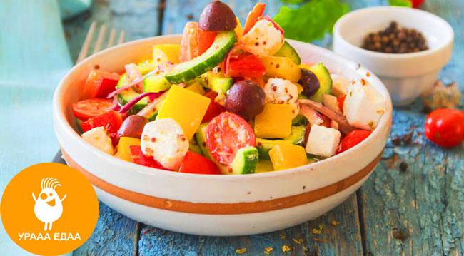 готовое блюдо с греческим салатиком