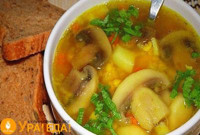 суп с грибами и хлеб