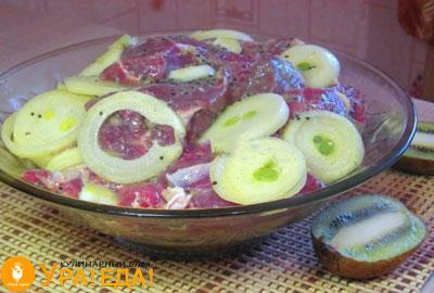 мясо с луком в соусе из киви