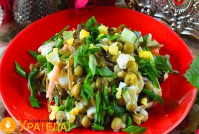 салат с огурцом и морской капустой