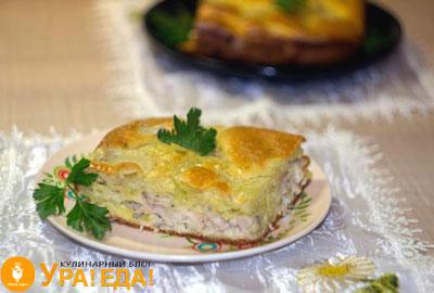 пирог с картошкой и куриным филе