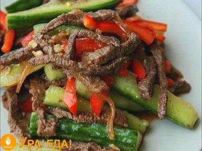 салат с огурцами и мясом